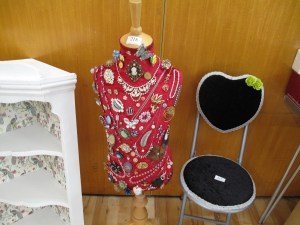 Lot 218 - Mannequin decorated with costume and hallmarked jewellery - Sold for £30