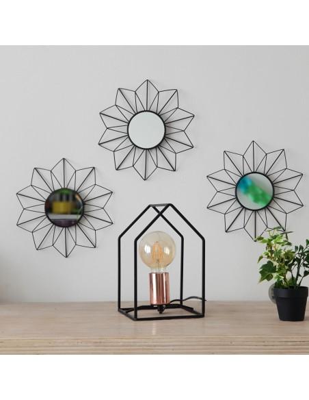 ensemble de 3 miroirs graphique d25cm coloris noir en metal