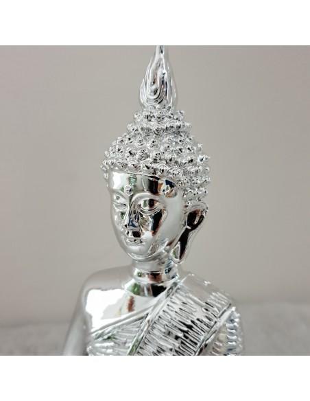 statue design bouddha resine argentee brillante h30cm