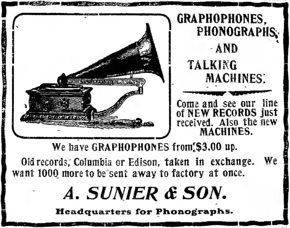 8/13/1903 Iowa Press-Citizen newspaper ad Graphophone
