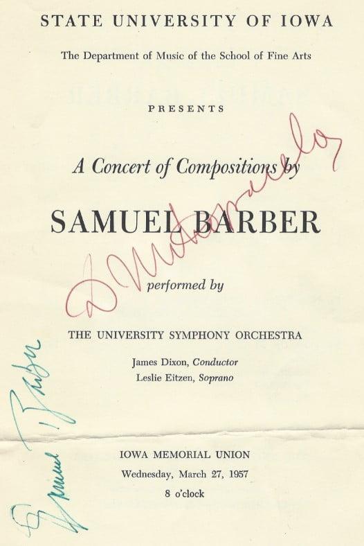Samuel Barber autographed program