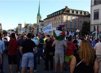 ProPalästina Demo auf der Rathausbrücke in Zürich, 18.07.2014