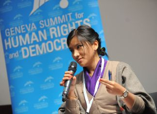 Youngest MP in Tibet's Parliament-in-Exile Tenzin Dhardon Sharling spoke on Tibet at yesterday's 6th annual Geneva Summit for Human Rights and Democracy.