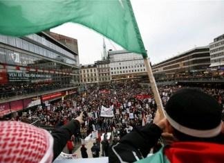 Pro-Palästina Demonstration in Stockholm, Schweden. Foto Miriam Alster/Flash90