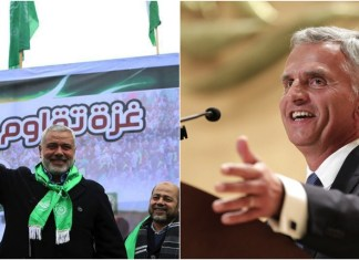 Links Ismail Haniyya. Er zählt zu den so genannten Top Five der politischen Führer der Hamas. Foto Hamas / Twitter. Rechts Bundesrat Didier Burkhalter. Vorsteher des Eidgenössischen Departements für auswärtige Angelegenheiten EDA. Foto Kremlin. Fotomontage zVg