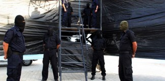 Hamas-Exekutionskommando. Foto Alresalah / Facebook