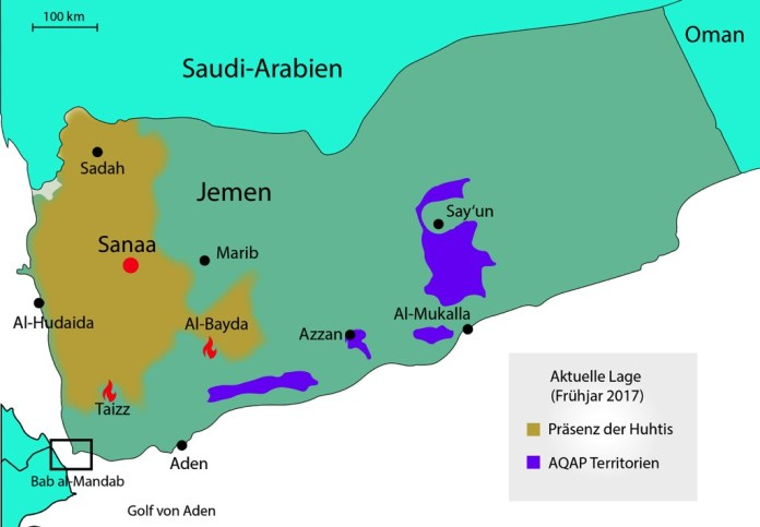 Frontlinien im Frühjahr 2017, eigene Darstellung, in Anlehnung an: Mapping the Yemen Conflict, European Council on Foreign Relations, http://www.ecfr.eu/mena/yemen.