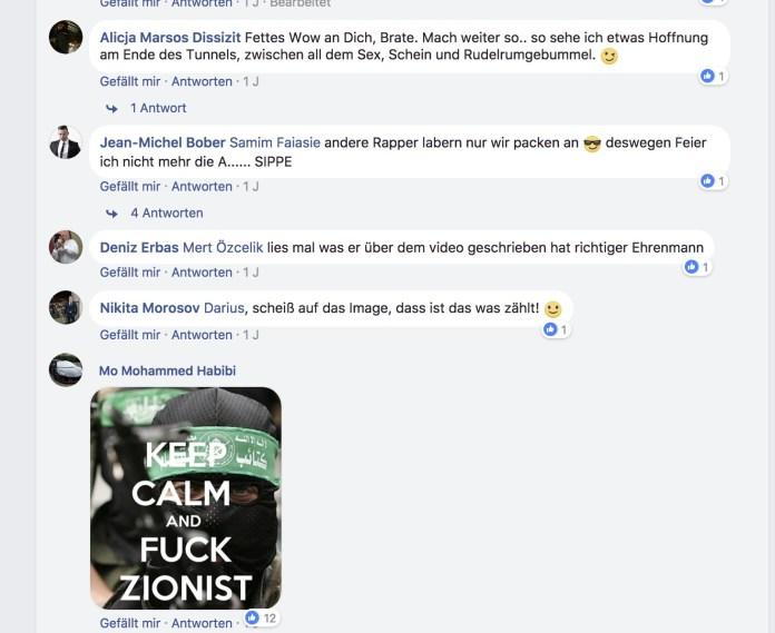 Screenshot Facebook Kommentarseite von Kollegah.