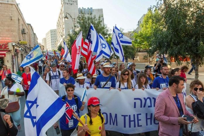 Tausende Christen aus 40 Ländern der Welt kamen nach Jerusalem, um am Marsch der Nationen teilzunehmen. Foto Hillel Maeir/TPS