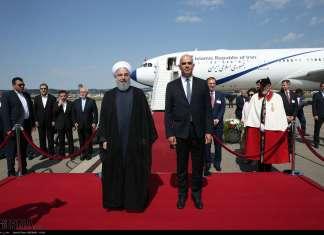 Bundespräsident Alain Berset begrüsst den iranischen Präsidenten Hassan Rouhani in Zürich. Foto Islamic Republic News Agency / IRNA.