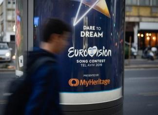 Eine Reklametafel für den Eurovision Song Contest 2019 in Tel Aviv. Foto Adam Shuldman/Flash90