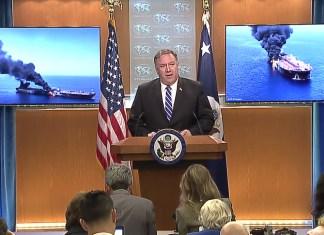 Medienkonferenz von US-Aussenminister Mike Pompeo zum Angriff auf zwei Öltanker im Golf von Oman, 13. Juni 2019. Foto Screenshot U.S. Department of State / Youtube