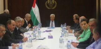 Der Präsident der Palästinensischen Autonomiebehörde, Mahmoud Abbas bei einer Sitzung des Exekutivkomitees der Palästinensischen Befreiungsorganisation. Foto Flash90