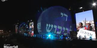"""Während der Show, die unter Verantwortung der Kulturprojekte Berlin GmbH stattfand, wurde folgende Aussage auf Hebräisch an Juden gerichtet: """"Es reicht mit der Besatzung!"""". Foto Screenshot ZDF"""