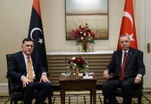 Der türkische Präsident Recep Tayyip Erdogan mit dem lybischen Premierminister Fayiz al-Sarra. Foto Website des türkischen Präsidenten.