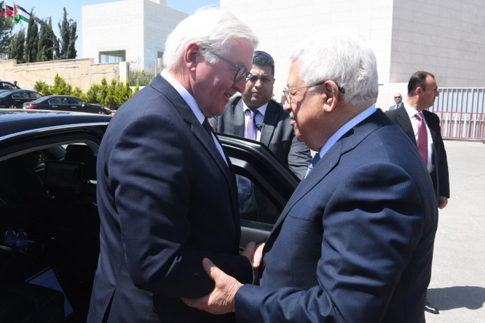Präsident Mahmoud Abbas bei einem Treffen mit Bundespräsident Frank-Walter Steinmeier in Ramallah im Mai 2017. Foto  Osama Falah / Palästinensische Autonomiebehörde