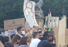 Kundgebung in Brüssel gegen die Annexion. Foto Association belgo-palestinienne.
