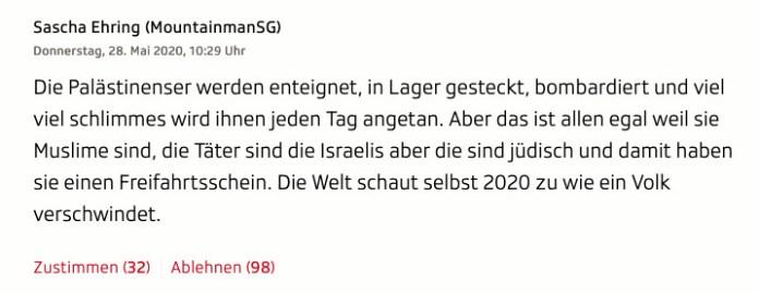 Ein antisemitisch angehauchter Kommentar unter dem Interview mit Lazzarini wird vom Schweizer Radio und Fernsehen seit einer Woche stehen gelassen. Screenshot  https://www.srf.ch/news/international/palaestinenserhilfswerk-unrwa-wir-sind-teil-der-loesung-nicht-des-problems