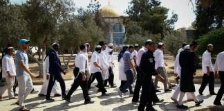 Israelische Sicherheitskräfte begleiten eine Gruppe religiöser Juden beim Besuch des Tempelbergs am Jom Kippur am 19. September 2018. Foto Sliman Khader/Flash90
