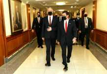 US-Verteidigungsminister Mark Esper, rechts, mit dem israelischen Verteidigungsminister Benny Gantz im Pentagon, Washington, 22. September 2020. Foto Shmulik Almani/Verteidigungsministerium