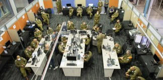 """Die Coronavirus-Task Force """"Alon"""" der israelischen Verteidigungskräfte in ihrem Hauptquartier am 9. September 2020 auf dem Stützpunkt des Kommandos der Heimatfront in Ramle. Foto IDF"""