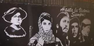 "Wandbild der ""Revolutionäre"" (Emma Goldman, Leila Khaled, Fidel Castro, Che Guevara und Hugo Chávez) in der baskischen Gemeinde Hernani. Foto Jove, CC0, https://commons.wikimedia.org/w/index.php?curid=74209068"