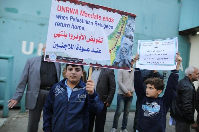 Kundgebung in Gaza-Stadt in Solidarität mit der Erneuerung des UNRWA-Mandats am 27. November 2019. Foto Majdi Fathi/TPS