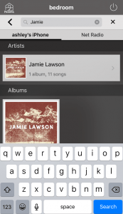 Search function showing a search with Jamie Lawson displayed as the result