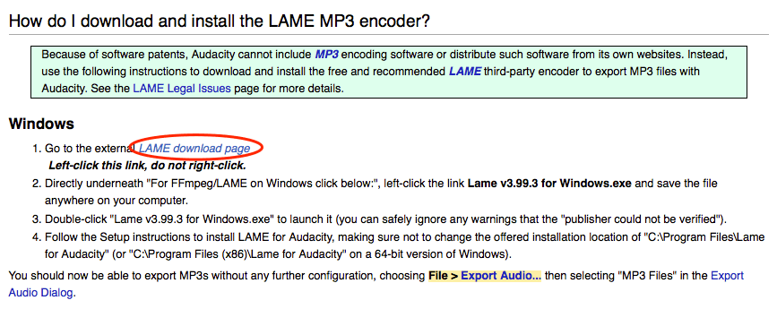 lame mp3 encoder plugin for audacity download