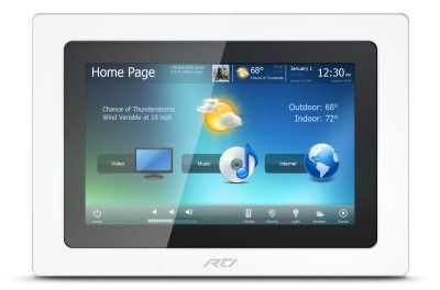 RTI custom home automation in wall touchpanel