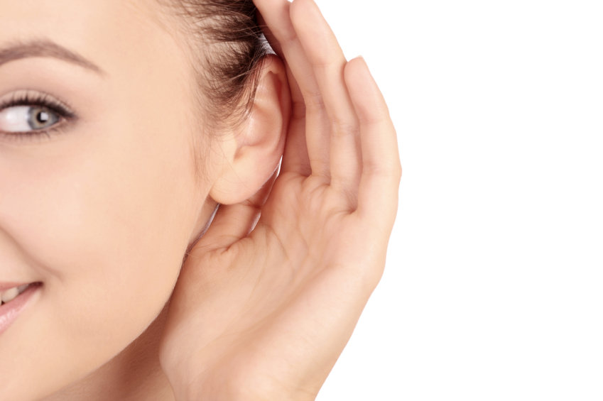 Woman cupping ear