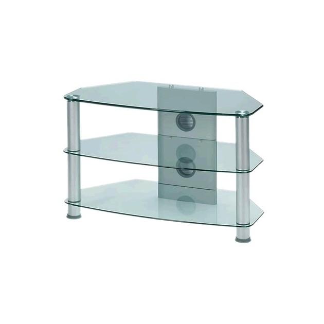 audiophonics j003sc meuble hifi support tv verre et aluminium silver 0 76m