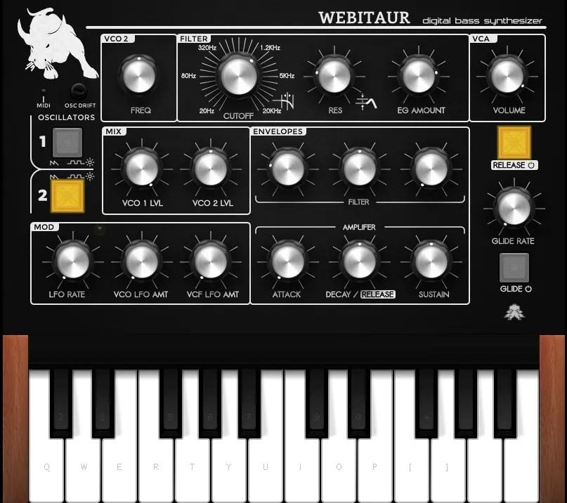 Webitaur (online, Synth Analogue/Subtractive) • Audio Plugins
