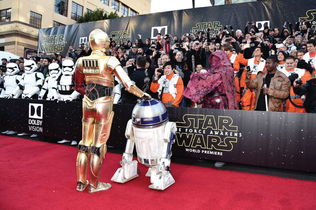 """attends the World Premiere of """"Star Wars: The Force Awakens"""" at the Dolby, El Capitan, and TCL Theatres on December 14, 2015 in Hollywood, California."""