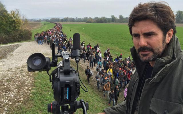 Hernán Zin, en el rodaje de 'Nacido en Siria'