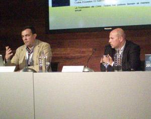 Oscar Berrendo y Juan Serrano, durante la presentación de Panorama Audiovisual Iberoamericano