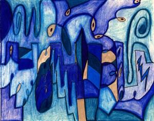 colored pencil, abstract, art, audra arr, blue, city, skyline, Fine Art