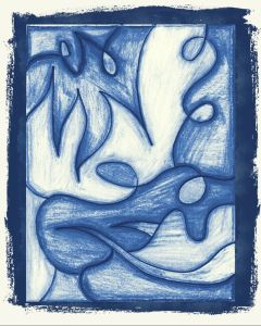 abstract art, audra arr, blue, faded, colored pencils