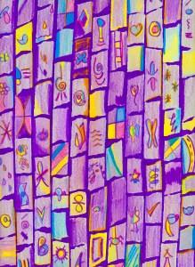 Abstract art, audra arr, colored pencil, tiles, bricks, purple, symbols