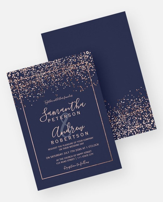 Rose Gold Confetti Navy Blue Typography Wedding Invitation Digital