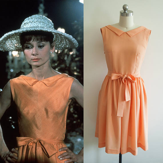 Audrey Hepburn Orange Dress from Paris When it Sizzles