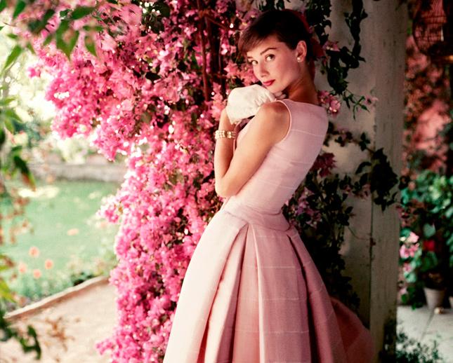 Audrey Hepburn pink swing dress flowers