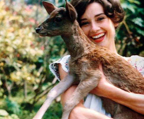 Audrey Hepburn with Deer