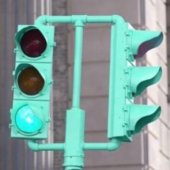 Tiffany Blue Traffic Light