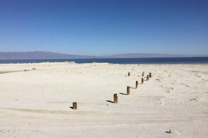 Salton Sea Beach weißer Strand