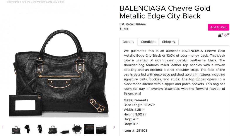d6bcf743f3a Average Used Price of the Balenciaga City Metallic Edge on Fashionphile