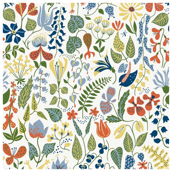 papier peint champs de fleurs vert