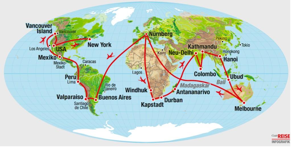 Weltkarte mit der Reiseroute von Elke Zapf und Wolfgang Eckart