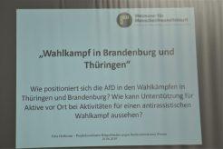 Zentrales Thema ist die Unterstützung von Antifaschist*innen und Antirassist*innen in Sachsen, Brandenburg und Thüringen während der dort bevorstehenden Wahlkämpfe.