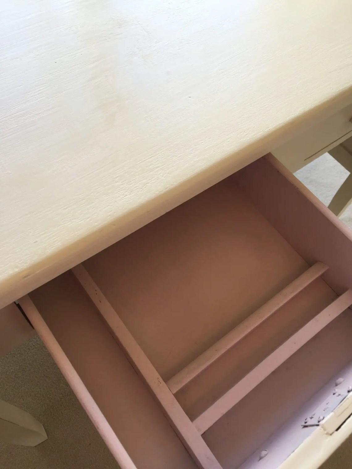 cute pink antique desk drawer details